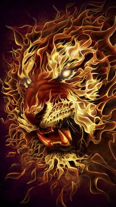Fire Lion Poster - All the better to eat you! Art Internet, Fire Lion, Lion Poster, Lion Wallpaper, Fire Art, Airbrush Art, Fire And Ice, Fractal Art, Mythical Creatures
