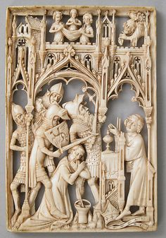 Martyrdom of Thomas à Becket  Date: 1400 (?)  Medium:  Ivory  Dimensions: Overall: 3 7/16 x 2 5/16 x 1/4 in.   Ernst Kofler-Truniger , Lucerne (sold 1970)