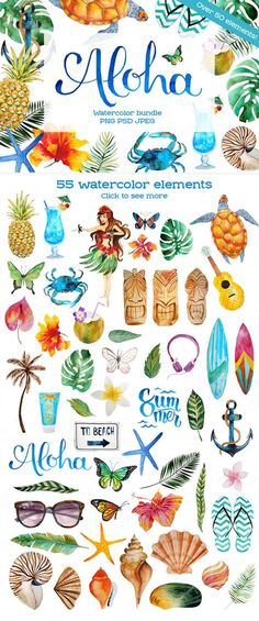 Ideas for flowers doodles hawaiian Freundin Tattoos, Diy And Crafts, Arts And Crafts, Drawn Art, Tropical Art, Summer Design, Luau, Watercolor Paintings, Watercolour