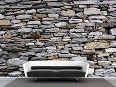 Vlies fotobehang stenenmuur Schotland - Industrieel behang | Muurmode.nl