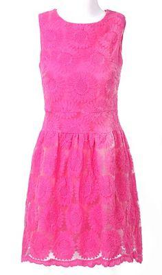 Rose Red Sleeveless Sunflower Embroidered A-line Dress - feeluxury.com