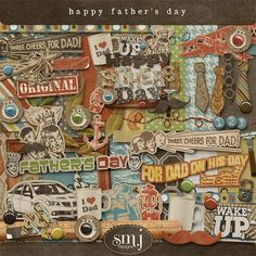 Father's Day Happy Father, Digital Scrapbooking, Fathers Day, Dads, Shabby, Happy Birthday, Paper Crafts, Guy Stuff, How To Make
