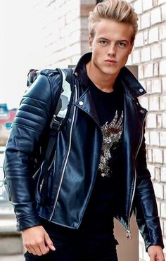 Blond pretty boy in modified classic leather.