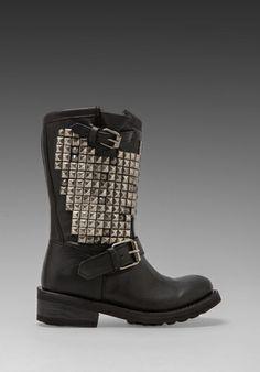 Ash Trash Studded Boot in Black/Tarnish Studs