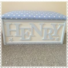 Beautiful, bespoke, personalised toyboxes. Any theme available, you pick the colours and fabric. If you have a particular fabric, please let me know. I like the customer to have exactly what they want so rather than stock fabric, I order for each individual. Any Name/colour/embellishment available. For example: • Hearts • Butterflies • Stars • Anchors • Crowns Please message me for any queries regarding the design. Please bare in mind that these are bespoke and made to order. Because of t...