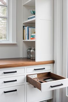 Home office with in-drawer electrical outlets from Docking Drawer. #sponsored