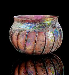 Roman Purple Ribbed Glass Bowl, 1st Century AD