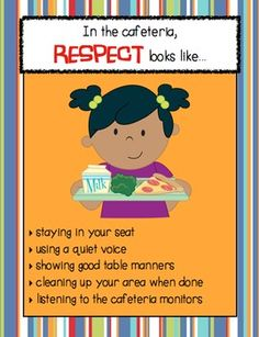 """RESPECT looks like..."" School Setting Posters Six posters defining respectful behavior in each of six school settings: cafeteria, classroom, hallway, playground, bathroom, and bus."