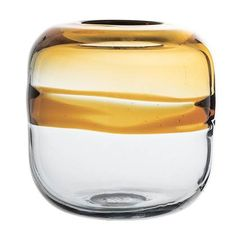 This two-toned glass vase features a sleek design that gives off a lucid and retro feel with a modern perspective. Its contemporary tones and soft curves match a natural and summery vibe that is perfec to adorn your home with. Vase Noir, Grand Vase En Verre, Vase Deco, Verre Design, Organic Glass, Good Housekeeping, Organic Shapes, Yellow And Brown, Amber Glass