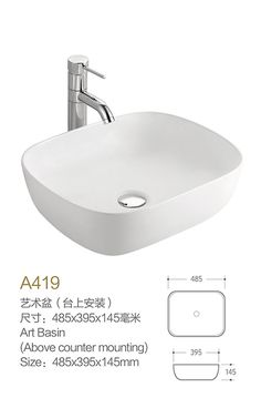 Product Name Bathroom Basins Model No DB A419 Dimension485X395X145mm
