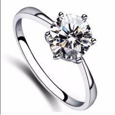 Solitaire Cubic Zirconia Sterling Silver Ring Brand New .925 Stamped Jewelry Rings