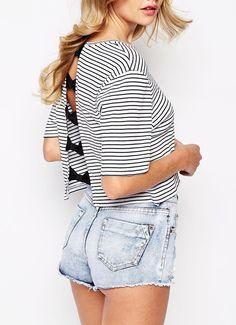 White Black Striped Bow Back Crop T-shirt 13.99
