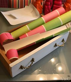 C�mo forrar cajones con papel [] Lining drawers with paper