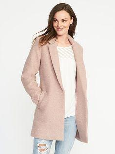 Textured-Bouclé Everyday Coat for Women