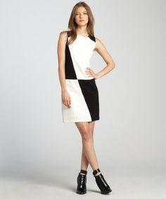 Ivy & Blu black and ivory colorblock sleeveless dress