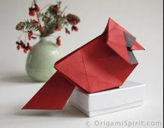 Make an Origami Cardinal ~ OHVA School Spirit week is the perfect time to make one, or save it for a...
