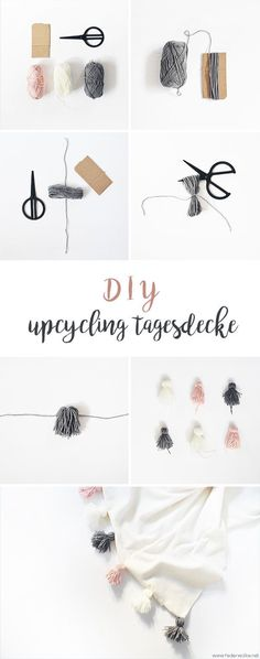 (Upcycling) DIY bedspread with tassels - feather cloud- (Upcycling) DIY Tagesdec. Baby supplies Baby Bikes (Upcycling) DIY bedspread with tassels - feather cloud- (Upcycling) DIY Tagesdecke mit Tasseln – Federwolke (Upcycling) DI Upcycled Home Decor, Upcycled Crafts, Diy Home Crafts, Diy Mask, Diy Face Mask, Diy Tassel, Tassels, Diy Accessoires, Ideias Diy