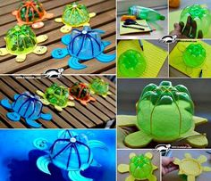 Turn plastic bottles into these adorable Floating Turtles  #diy #crafts