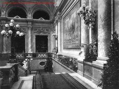 """Budavári Palota - Hauszmann Alajos - A mai """"F"""" épület főlépcsőházának első emeleti szintje Old Pictures, Old Photos, Buda Castle, Royal Crowns, Historic Architecture, Historical Photos, Hungary, Palace, Cities"""