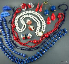 Junk Jewelry Lot 12 Bead Necklaces Mixed Earrings Red White Blue Patriotic Craft