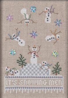 Just Nan - Just Dropping In - Part 1 - It's Snowing Men! - Cross Stitch Pattern