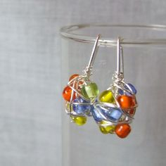 Chaos Wire Wrapped Earrings with Colorful Seed by SalvagedJewelry, $8.00