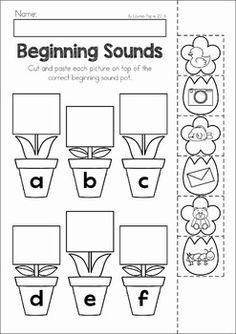 Spring Preschool No Prep Worksheets & Activities. A page from the unit: flowerpot and flower beginning sounds cut and paste