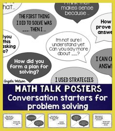 Math Talk Posters: Student conversation starters for problem solving --These math talk posters are designed to guide your students during math problem solving activities and support your students in having independent conversations about the subject. Math Teacher, Math Classroom, Teaching Math, Teaching Ideas, Classroom Ideas, Teacher Tips, Teacher Stuff, Math Discourse, Math Questions