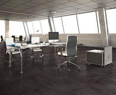 Ambientación oficina con Concrete Graphite - Porcellanato ILVA