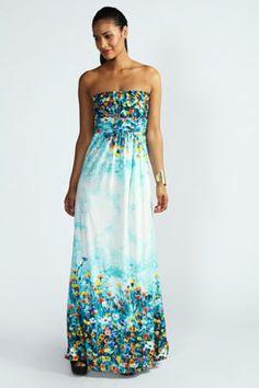 Betty Bandeau Floral Boarder Print Maxi Dress at boohoo.com