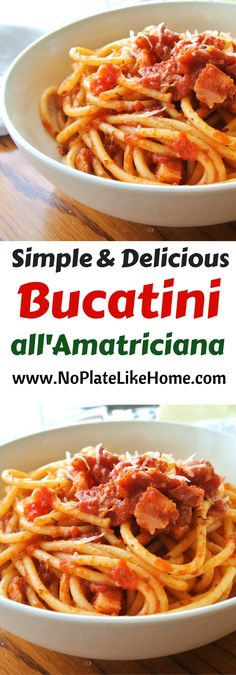 This simple and delicious Roman pasta dish, Bucatini all'Amatriciana, is made with pancetta (similar to bacon,) bucatini pasta (similar to spaghetti,) and diced tomatoes. This easy Italian homemade sauce recipe is flavorful and will please a crowd. It is the perfect Sunday dinner! Pin for later.