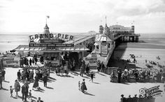 Weston Super Mare, The Grand Pier Part of The Francis Frith Collection of nostalgic, historic photographs of Britain. Free to browse online today. Your nostalgic journey has begun! Weston Super Mare, Nostalgic Images, Great British, The Good Old Days, Bristol, Beautiful Images, Childhood Memories, Vintage Photos, Seaside