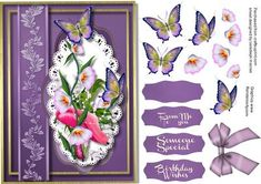 Beautiful lilac Nasturtiums and Butterflys  on Craftsuprint - Add To Basket!