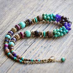 Купить Бусы с бирюзой «Таинственный сад» - фиолетовый, фиолетовые бусы, бирюзовый, бирюзовое колье