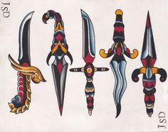 50 Ideas Tattoo Old School Adaga Flash Tradicional, Tattoo Tradicional, Traditional Dagger Tattoo, Traditional Tattoo Design, Knife Tattoo, Sword Tattoo, Heart Dagger Tattoo, Adaga Tattoo Old School, Trendy Tattoos