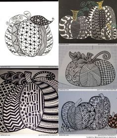 Free Zentangle How To Patterns Tangle Doodle, Tangle Art, Doodles Zentangles, Zen Doodle, Zentangle Patterns, Doodle Art, Autumn Doodles, Easy Halloween Crafts, Pumpkin Art
