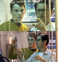Anton & JJ Abrams and Anton & Chris on the set of Star Trek (2009)