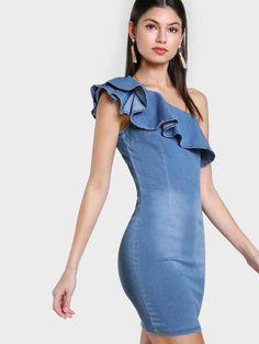 MakeMeChic - MAKEMECHIC Single SHoulder Denim Dress DENIM - AdoreWe.com