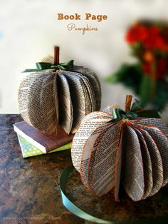 Book Page Pumpkins at sewlicioushomedecor.com