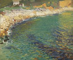 Lamorna Cove by Dame Laura Knight Seascape Paintings, Landscape Paintings, Landscapes, Landscape Art, Art Nouveau, Knight Art, English Artists, British Artists, Coastal Art
