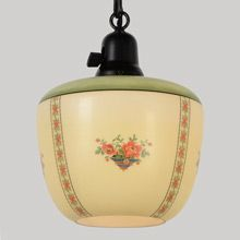 Classic Pendant W/Delicately Decorated Shade, C1928