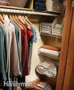 Salvage the hidden space at the recessed ends of your closets by adding a set of shelves.