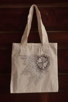 hand made and hand drawn tote bag made from canvas... commission ...