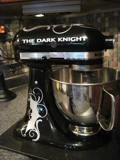 Batman Vinyl Embellishments for your Mixer or... Pimp my KitchenAid - Vinyl Sticker Decal. $10.00, via Etsy.// One day I'll have a KitchenAid mixer and I shall get this