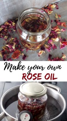 Make your own rose oil rose petals and carrier oil of your choice make an excellent natural remedy that can heal your skin. remedies The post Make your own rose oil appeared first on Haar. Natural Home Remedies, Natural Healing, Herbal Remedies, Health Remedies, Holistic Healing, Cold Remedies, Holistic Wellness, Rose Oil For Skin, Oils For Skin