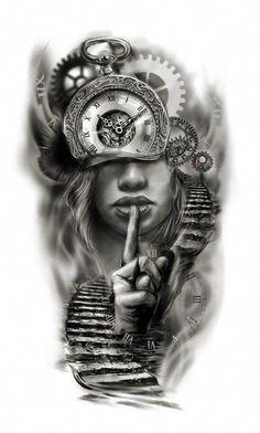 86d1e4807d7ac1 Clock face half sleeve custom tattoo design idea by Tattoo Tailors  #Halfsleevetattoos