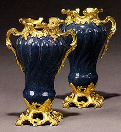 A Pair of Louis XV Style Gilt-Bronze Mounted Blue Tole Peinte Vases - French   c.1860