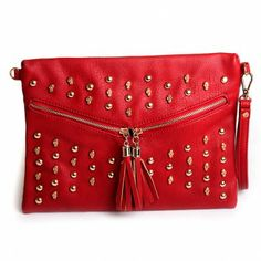 K17 Distribution - Red Studded Clutch  http://www.shitsvilleclothing.com/red-studded-envelope.html