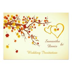 Autumn maple Red and Gold leaves, hearts Wedding Invitation   Fall, Nature, Garden wedding