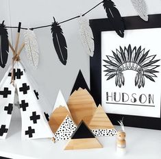 • limited edition • monochrome mini teepee with custom accents | stands at 34cm dowel accents available in mint, black, dark turquoise, white or pl...